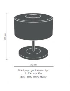 Lampa gabinetowa Elia złota, czarny abażur Amplex 0372