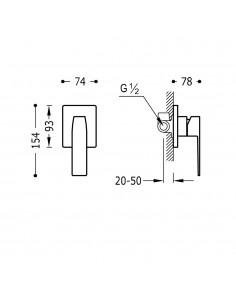 SLIM COLORS Jednouchwytowa bateria podtynkowa (1-drożna) złota Tres Slim Exclusive 20217701OR