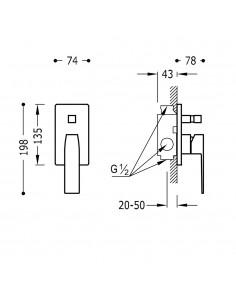 SLIM COLORS Jednouchwytowa bateria podtynkowa (2-drożna) złota Tres Slim Exclusive 20218001OR