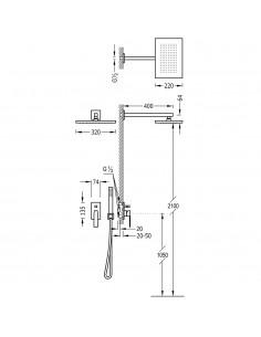 SLIM COLORS Zestaw natryskowy z baterią podtynkową złoty Tres Slim Exclusive 20218006OR