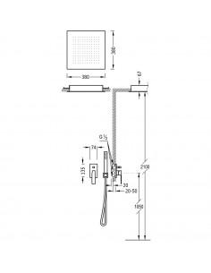SLIM COLORS Zestaw natryskowy z baterią podtynkową złoty Tres Slim Exclusive 20298001OR