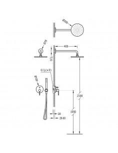 Tres Study Exclusive zestaw prysznicowy z baterią podtynkową chrom 26218080
