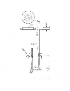 Tres Study Exclusive zestaw prysznicowy z baterią podtynkową czarny mat 26218099NM
