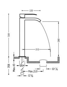 Bateria umywalkowa Tres Cuadro Exclusive kaskada czarny mat 00681001NMD