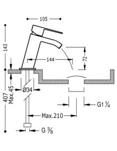 Bateria umywalkowa Tres Cuadro Exclusive wylewka kaskada czarny mat 00620101NMD