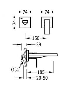 Bateria umywalkowa Tres Cuadro Exclusive podtynkowa czarny mat 00620012NM