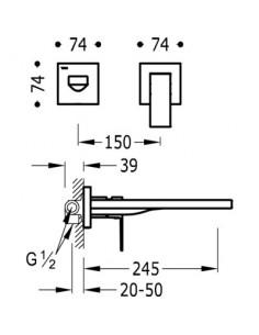 Bateria umywalkowa Tres Cuadro Exclusive podtynkowa czarny mat 00620011NM
