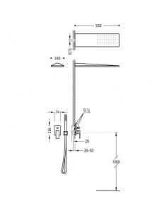 Zestaw prysznicowy Tres Cuadro Exclusive z baterią podtynkową czarny mat 00618003NM
