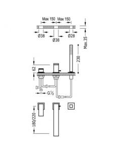 Bateria wannowa Tres Cuadro Exclusive trzyotworowa czarny mat 00616105NM