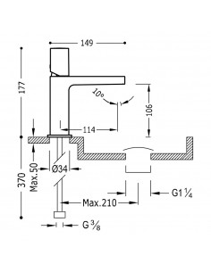 Tres Project bateria umywalkowa czarny mat 21110302NMD