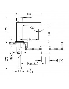 Tres Project bateria umywalkowa czarny mat 21110301NMD