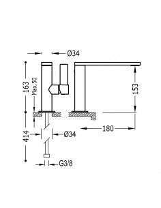Tres Project bateria umywalkowa czarny mat 21120501NMD