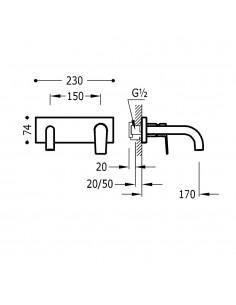 Tres Project bateria umywalkowa podtynkowa czarny mat 21120001NM