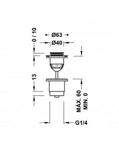 Odpływ umywalkowy Ø 40 mm CLICK‑CLACK w kolorze złotym 24284002OR