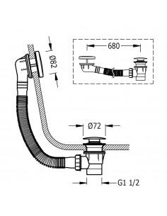 Syfon wannowy z przelewem i korkiem Ø 72 mm CLICK‑CLACK w kolorze złotym 03453420OR