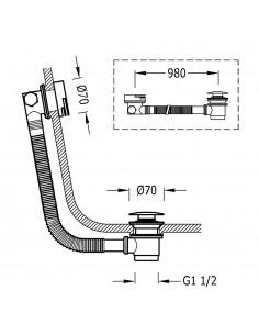 Syfon wannowy i okrągły zawór napełniający KASKADA z przelewem Ø 70 mm CLICK‑CLACK w kolorze złotym 03453430OR