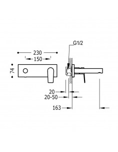 Tres Project bateria umywalkowa podtynkowa czarny mat 21120201NM