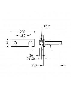Tres Project bateria umywalkowa podtynkowa czarny mat 21120203NM