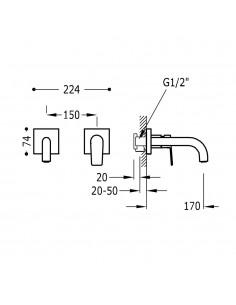 Tres Project bateria umywalkowa podtynkowa czarny mat 21120080NM