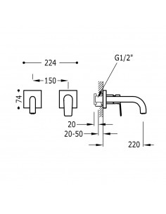 Tres Project bateria umywalkowa podtynkowa czarny mat 21120081NM