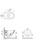 ZESTAW MISKA WC WISZĄCA BEZRANTOWA CATALANO SFERA 54x35 cm Z DESKĄ SEDESOWĄ WOLNOOPADAJĄCA 1VSF54R00+5SCSTP000