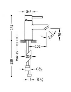 Bateria umywalkowa Tres Alplus ze słuchawką typu Bidetta chrom 162113