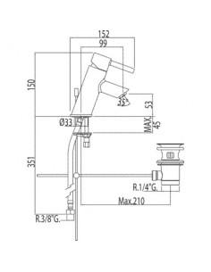 Bateria umywalkowa Tres Alplus chrom 20310301