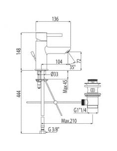 Bateria umywalkowa Tres Alplus chrom 14,8cm korek automatyczny 20310303D