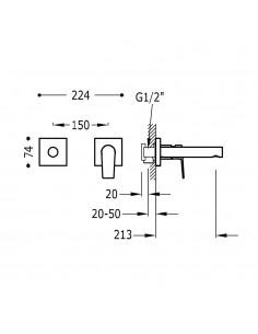 Tres Project bateria umywalkowa podtynkowa czarny mat 21120282NM