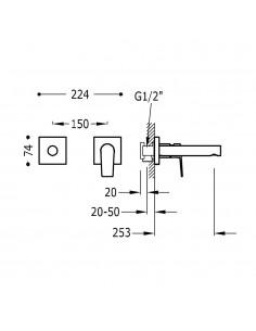 Tres Project bateria umywalkowa podtynkowa czarny mat 21120283NM