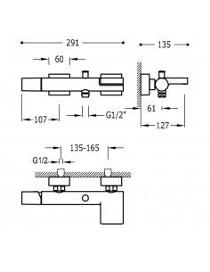 Tres Project bateria wannowo-prysznicowa ścienna z kaskadą czarny mat 21117001NM