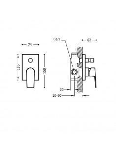 Tres Project bateria wannowo-prysznicowa podtynkowa chrom 21118001