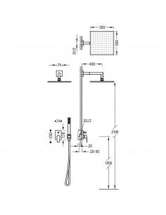 Tres Project zestaw prysznicowy z baterią podtynkową chrom 21198091