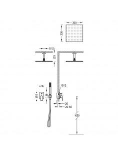 Tres Project zestaw prysznicowy z baterią podtynkową czarny mat 21118080NM