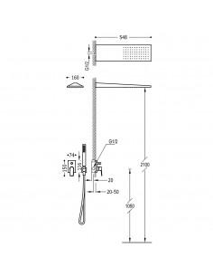 Tres Project zestaw prysznicowy z baterią podtynkową czarny mat 21198092NM