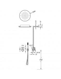 Tres Project zestaw prysznicowy z baterią podtynkową czarny mat 21198099NM