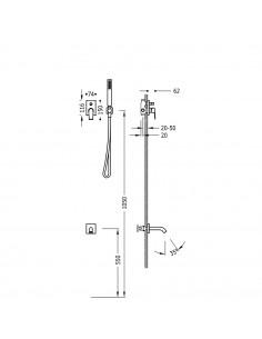 Tres Project zestaw prysznicowy z baterią podtynkową czarny mat 21118003NM