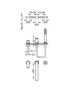 Tres Project bateria wannowo-prysznicowa 3-otworowa czarny mat 21116101NM