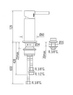 Bateria bidetowa Tres Alplus z prysznicem chrom 12,9cm 20313001