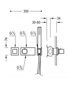 Tres Block-System zestaw prysznicowy z baterią podtynkową termostatyczną chrom 20725191