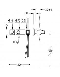 Tres Block-System zestaw prysznicowy z baterią podtynkową termostatyczną chrom 20735191