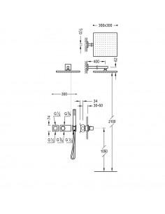 Tres Block-System zestaw prysznicowy z baterią termostatyczną czarny mat 20725201NM