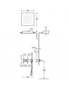 Tres Block-System zestaw prysznicowy z baterią podtynkową termostatyczną czarny mat 20725204NM