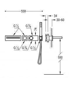 Tres Block-System zestaw wannowo-prysznicowy z baterią podtynkową termostatyczną czarny mat 20719201NM
