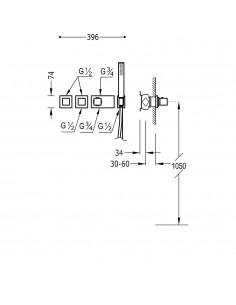 TRES BLOCK SYSTEM - BATERIA PRYSZNICOWA TERMOSTATYCZNA PODTYNKOWA CHROM 20725391