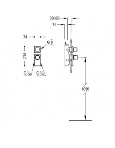BLOCK SYSTEM COLORS Bateria termostatyczna podtynkowa Tres złota 20625199OR