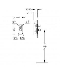 BLOCK SYSTEM COLORS Bateria termostatyczna podtynkowa BLOCK SYSTEM złota Tres 20625299OR