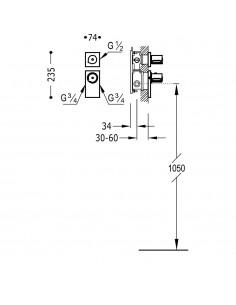BLOCK SYSTEM COLORS Bateria termostatyczna podtynkowa Tres złota 20635199OR