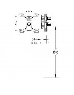 BLOCK SYSTEM COLORS Bateria termostatyczna podtynkowa Tres złota 20635299OR