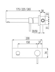 Bateria umywalkowa Tres Alplus podtynkowa chrom 20320001